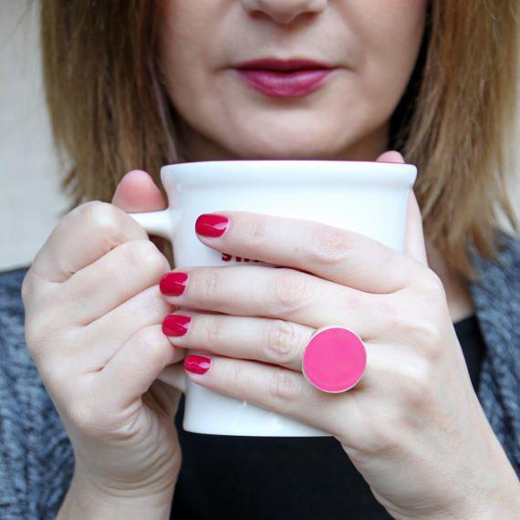 Pink ring rose pastel pink resin ring baby pink ring by xroma