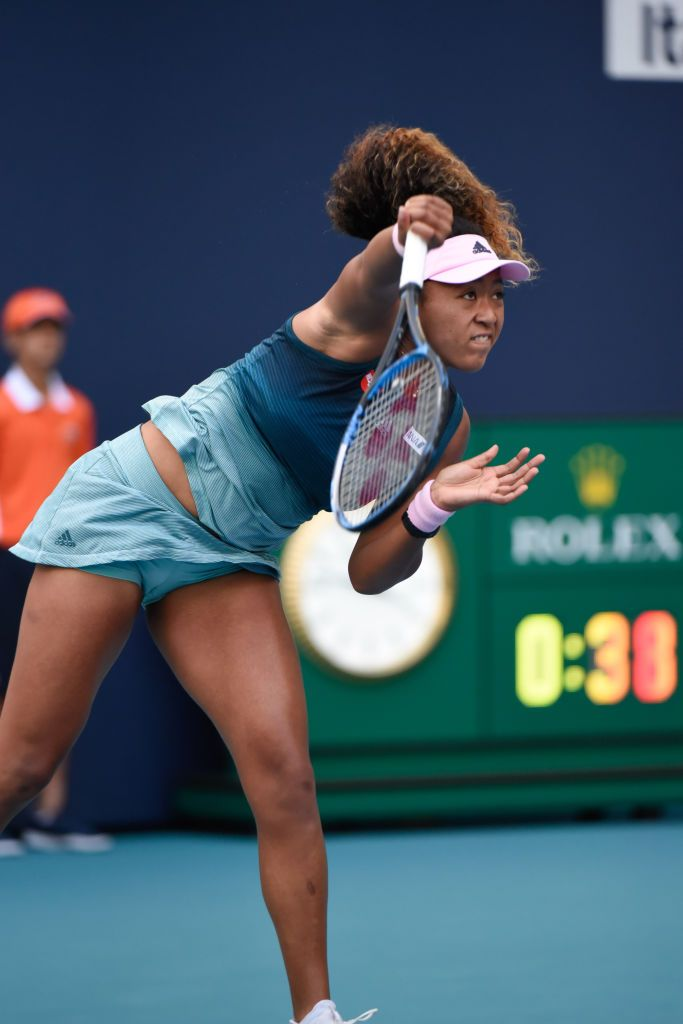 Miami Gardens Fl March 23 Naomi Osaka From Japan Loses Her Third Round Match At The Miami Open Tennis Players Female Serena Williams Tennis Tennis Players