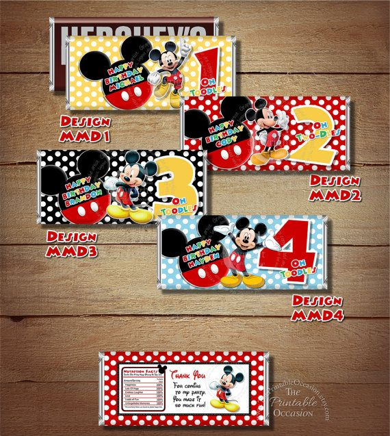 ANY AGE or COLOR Printable Mickey Mouse Birthday Candy Bar Wrapper, Clubhouse Mickey Candy Bar Wrapper, Mickey Mouse DiY Party Printables
