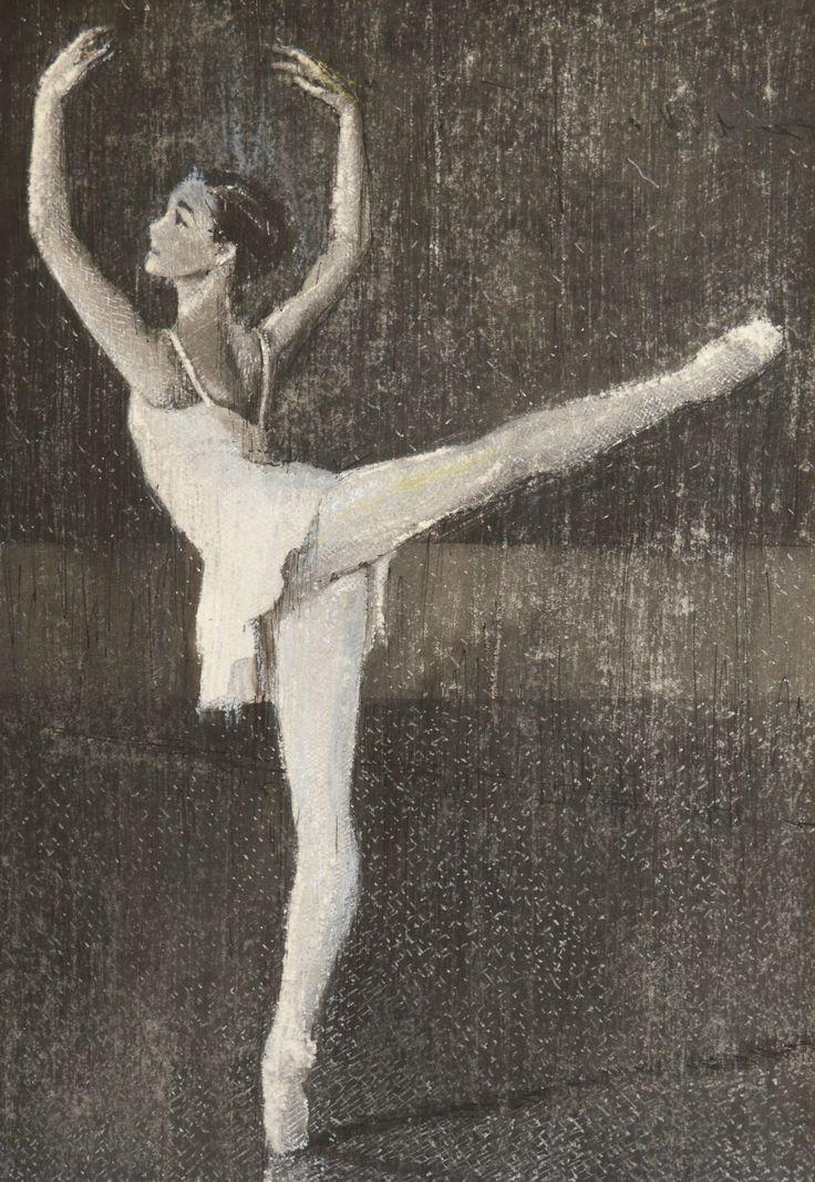 Pavel Kasparek: Ballerina in White / ink wash / 8 x 12 inch