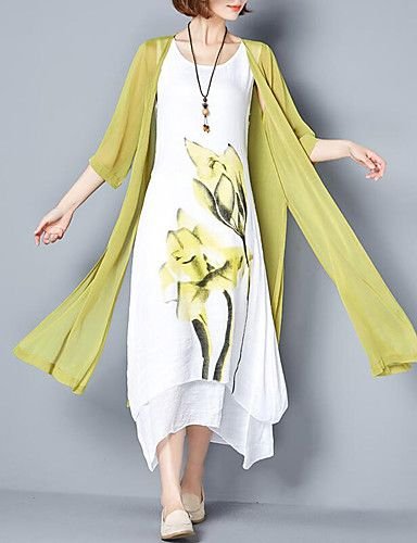 Ženske Jednostavno Izlasci Plus veličine Širok kroj Haljina,Cvjetni print Okrugli izrez Maxi Pamuk Ljeto Normalan struk Neelastično