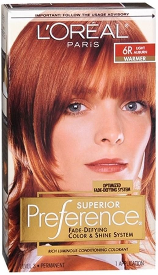 loreal superior preference hair color 6r light auburn new