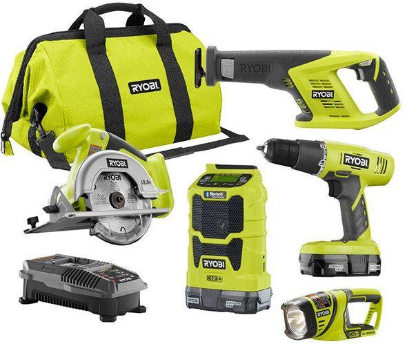 ryobi p1879 18v 5pc cordless power tool combo kit ryobi