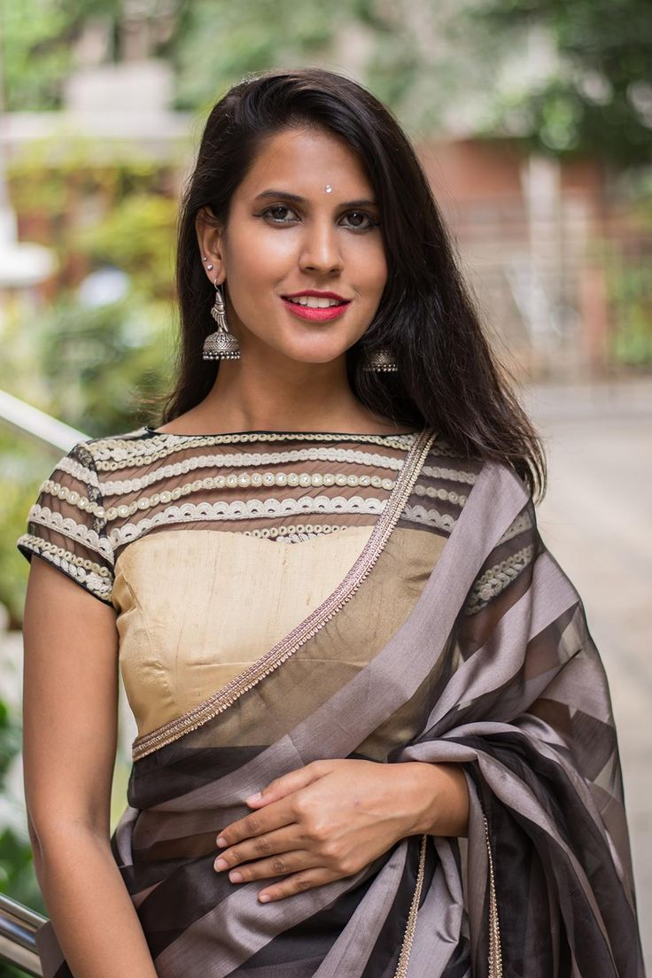 Another wowsome wonder! So very chic and yet understated in a neutral color palette. A striking sheer back and yoke in threadwork and mirror work, makes this a stand out monochrome number.   Do as we do and pair with an interesting patterned monochrome saree. Or contrast with a black saree for subtle sophistication.
