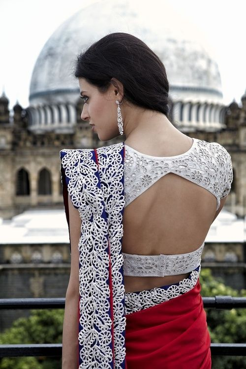 Blue and red sari - Outfit; Blouse Design #desi #indian #pakistani #southasian #wedding #fashion