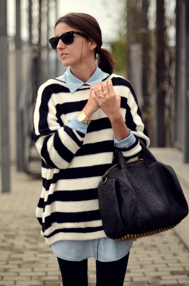 nautical stripe sweater + chambray  shirt = classic street chic: Nautical Stripes, Chambray Shirts, Stripes Sweaters, Denim Shirts, Over Sweaters, Black White, Alexander Wang, Bags, Street Chic