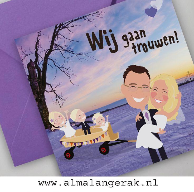 Jan en Suzanne vieren hun #bruiloft in #lopik en ik mocht met spoed deze #vrolijke #trouwkaarten voor ze maken.   Op deze #trouwkaartjes een #cartoon van Jan, Suzanne en de kinderen in de door Jan gemaakte #bolderkar  en de #zendmast van Lopik als #silhouet op de achtergrond   Jan en Suzanne, nog heel even wachten, maar alvast een hele mooie #trouwdag toegewenst  #geboortekaartjes #bolderkar #trouwkaarten #winterbruiloft #trouwen #maatwerk #portret #karikatuur #nagetekend #silhouette
