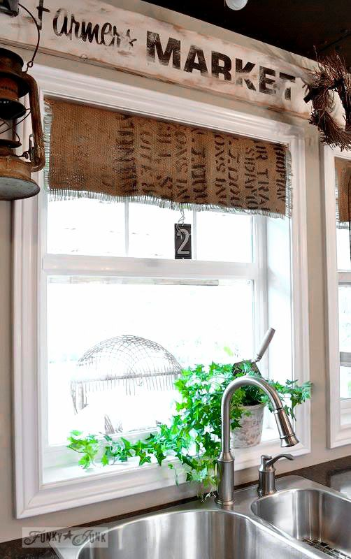 No sew coffee bean sack burlap window shades via FunkyJunkInteriors.net