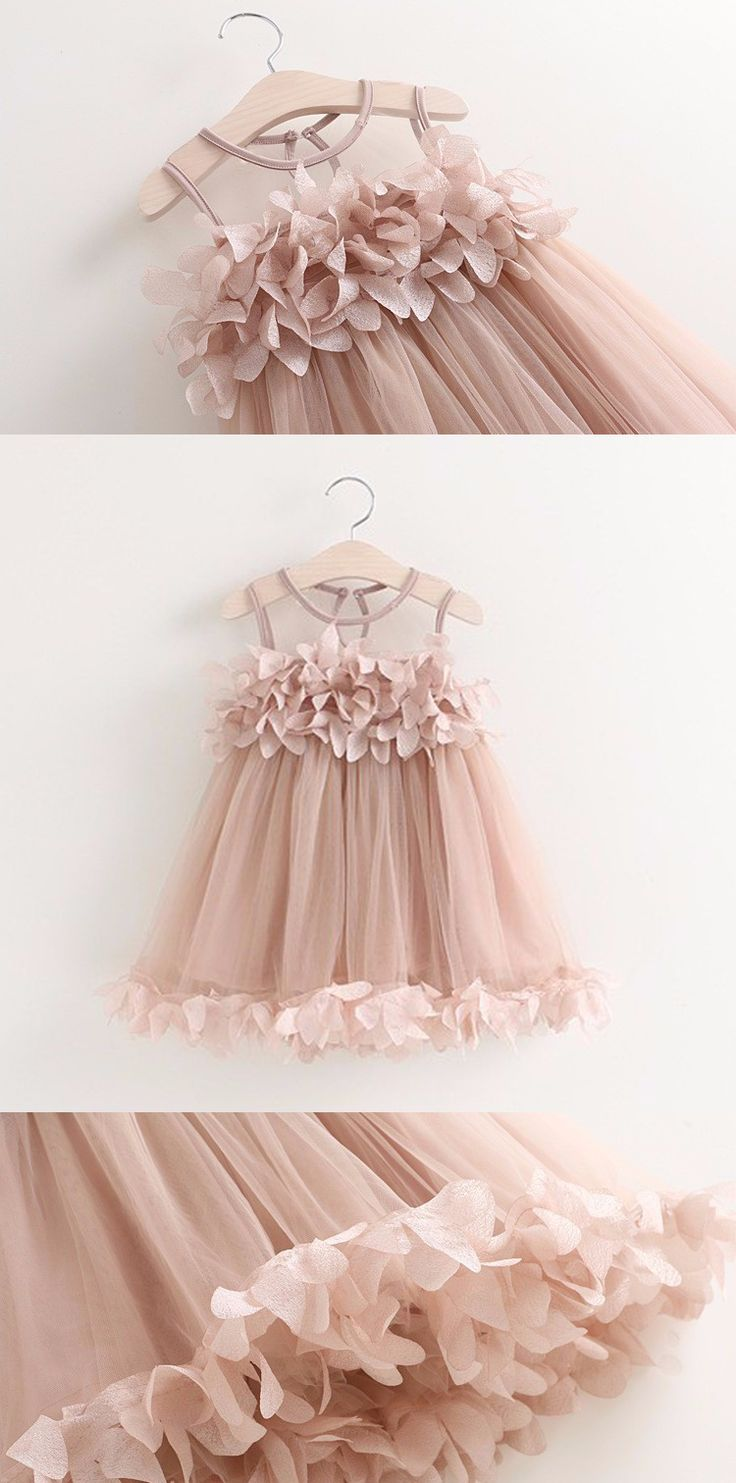 Blush Pink Flower Tutu Dress for Baby Girl - Great for girls birthday outfit, photoshoots, princess party, flower girl