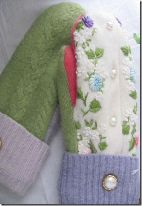 Made from old sweaters...each mitten different and beautiful <3