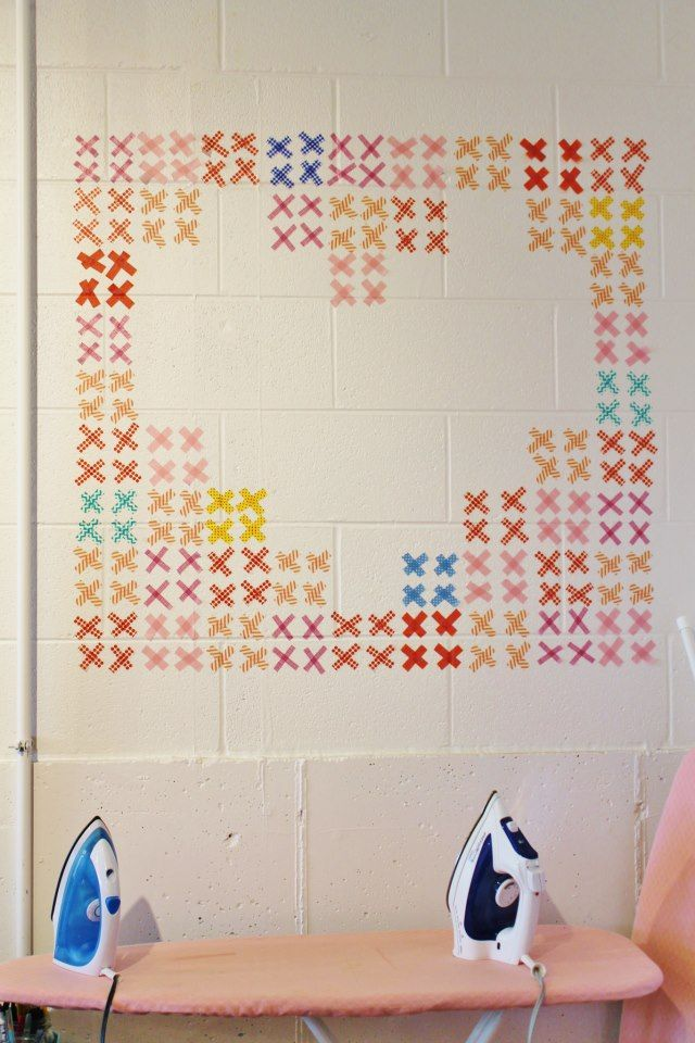 washi tape wall stitch pattern