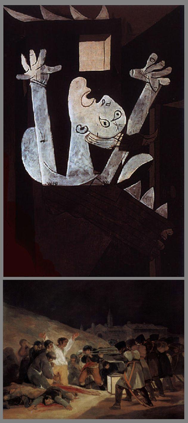 """SYMBOLES ET RÉFÉRENCES DANS GUERNICA. Cette femme dans les flammes fait partie du groupe des 3 femmes à droite du tableau. Les bras levés au ciel, elle fait sûrement référence au célèbre tableau de Francisco Goya,   """"Tres de Mayo"""", autre chef-d'œuvre romantique, tableau engagé mais cette fois contre les martyres civils du 3 mai 1808 en Espagne, fusillés en représailles de la révolte du 2 mai par les soldats français sous les ordres de l'Empereur Napoléon."""