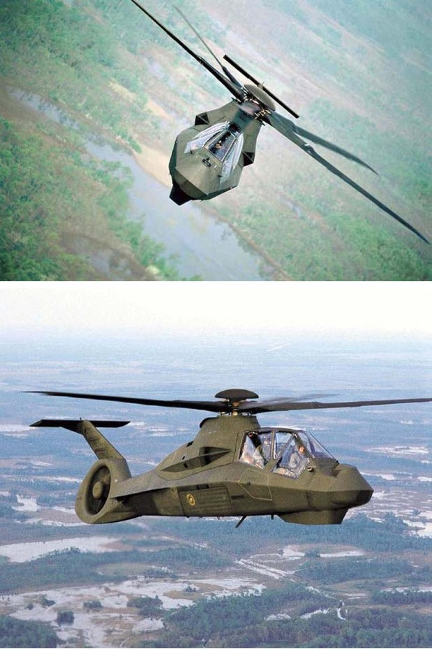 The Boeing/Sikorsky RAH-66 Comanche was an advanced U.S. Army military helicopter intended for the armed reconnaissance role, incorporating stealth technologies. It was also intended to designate targets for the AH-64 Apache. The RAH-66 program was canceled in 2004 before it was fielded.