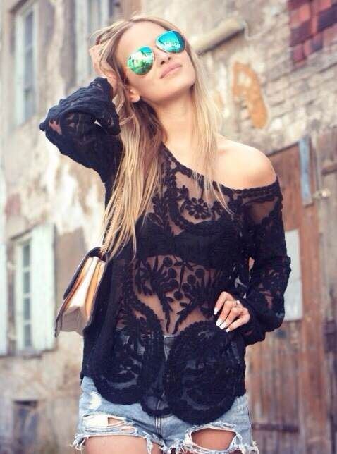 A black lace top looks perfect with a simple black bra underneath.   Read more: http://www.gurl.com/2015/05/02/style-tips-on-how-to-wear-sheer-tops-shirts-outfit-ideas/#ixzz3ZK5Ti3sD