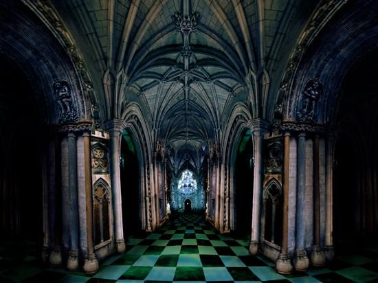 medieval castle interior decoration with dark gothic scheme