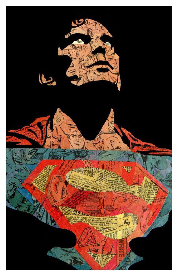 Superman Reeve impresión 11 x 17 por ComicCollageArt en Etsy