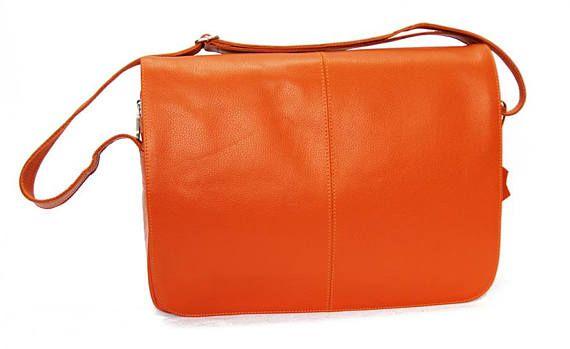 Sac bandoulière homme femme orange cuir véritable sac