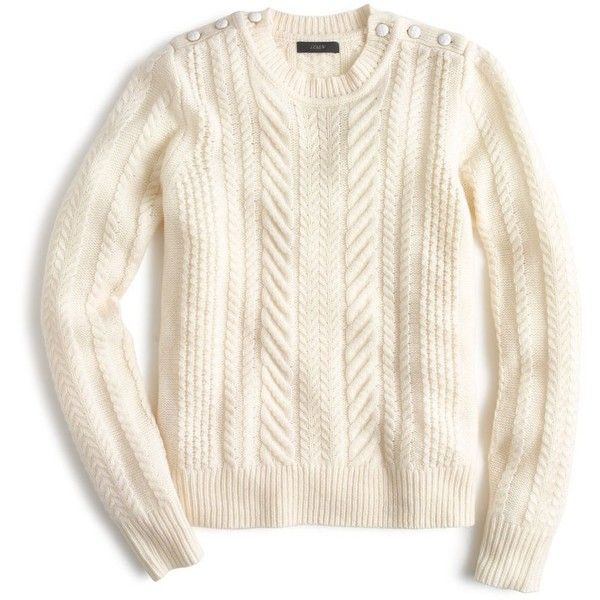 J.Crew Perfect Cable Sweater found on Polyvore featuring tops, sweaters, shirts, cuff shirts, petite tops, petite white shirt, white button sweater and button shirts