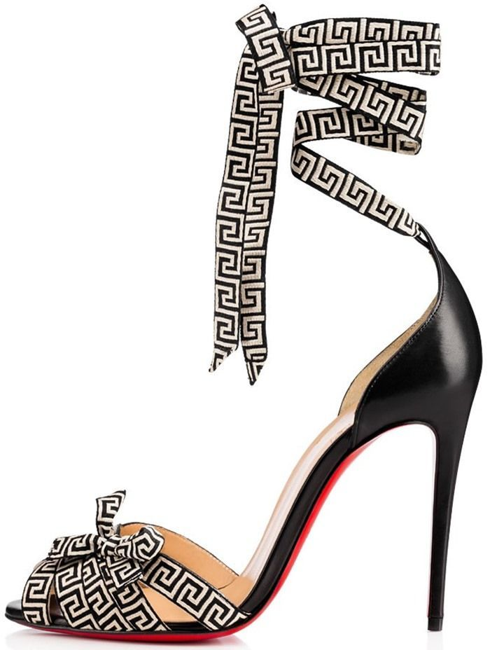 Christian Louboutin 'Christeriva' 100 Bow-Embellished Grosgrain and Suede Sandals