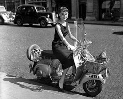 Audrey Hepburn on scooter.  I kept thinking during my scooter license test, if little Audrey Hepburn could ride a Vespa, I can certainly ride an automatic scooter!