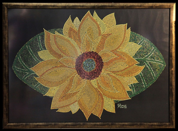 Sunflower lovers, paper mosaic collage from magazine pages, 1 m X 70 cm, gold wooden frame