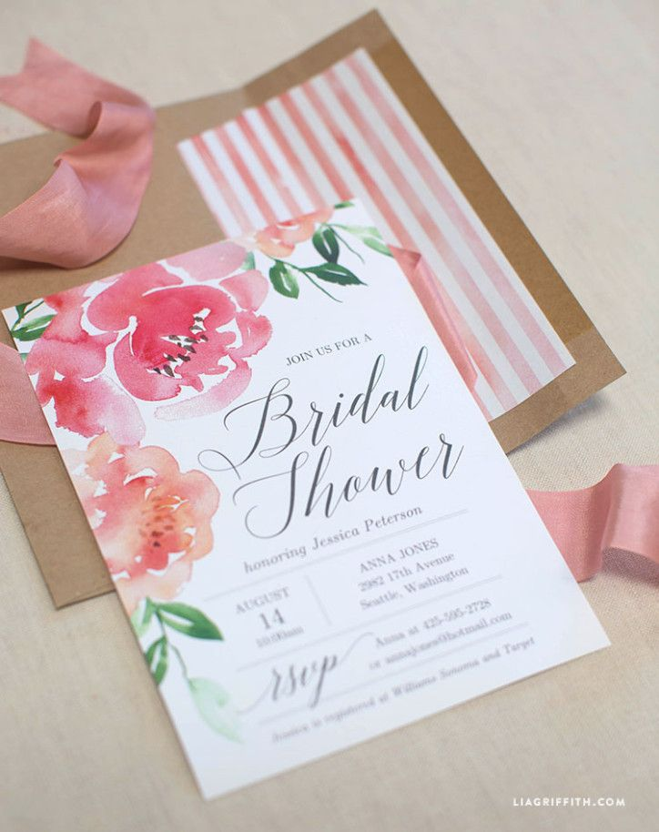 Watercolor Peony Bridal Shower Invitation