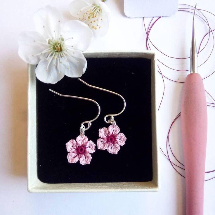 Cherry Blossom Drop Earrings, Cherry Blossom Crochet Earrings, Springtime Earrings, Pretty Pink Flower Earrings, Thank You Gift, Flower Girl