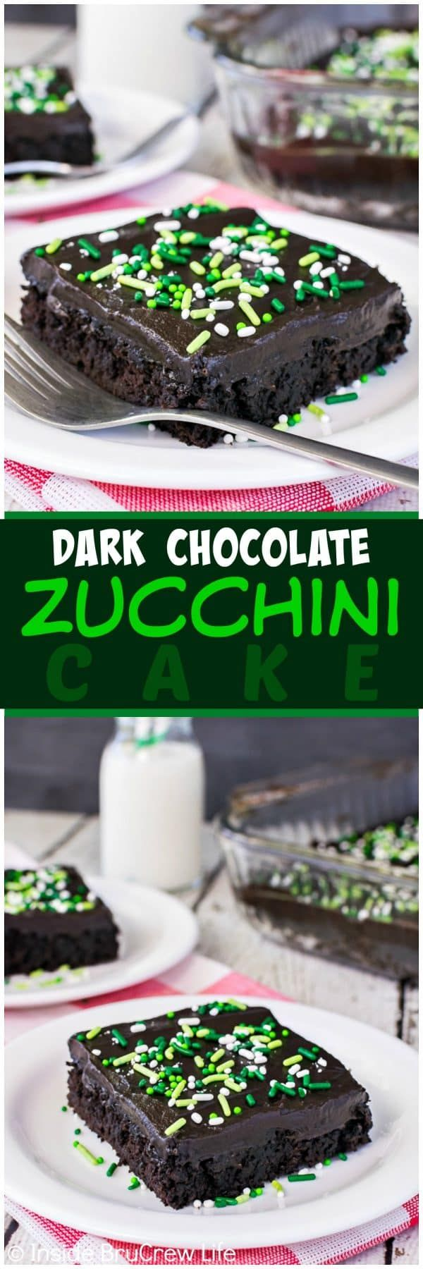 Dark Chocolate Zucchini Cake - creamy chocolate frosting and lots of green veggies makes this the best summer dessert!  Great recipe to use up those zucchinis from your garden!