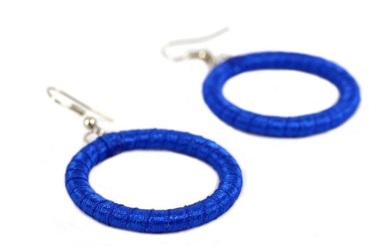 """""""Boucles d'oreilles #bleu Électrique""""-Boucles d'oreilles anneaux fantaisie"""