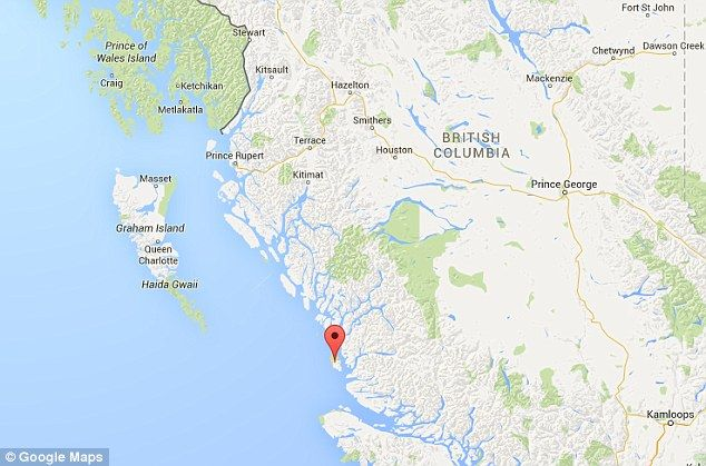 The finding was made by the Hakai Institute in British Columbia and the University of Victoria on Calvert Island, shown by the marker here
