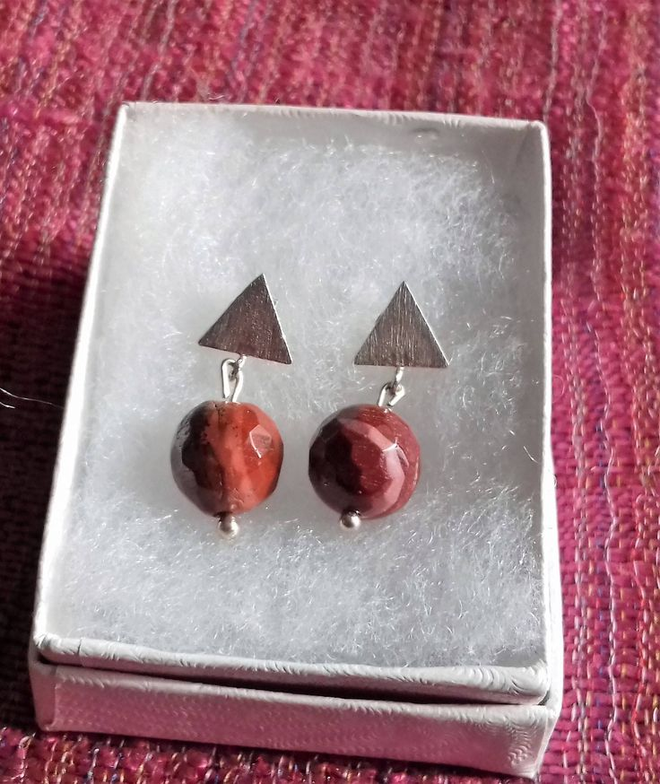 Mookaite 925 Sterling Silver Triangle Stud Earrings