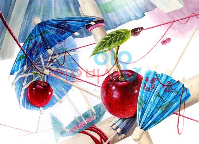 종이우산, 털실, 체리