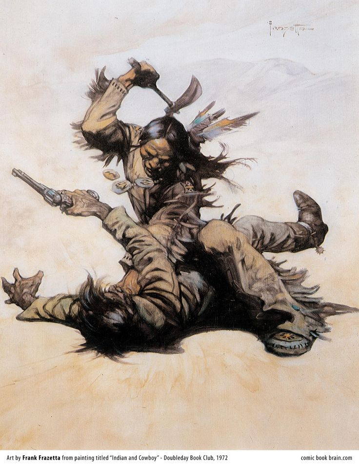 Indian and Cowboy - 1972 - by Frazetta