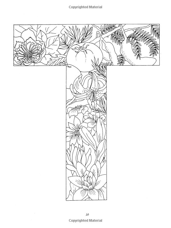Coloring Pages Of Fancy Alphabet Letters : Floral alphabet coloring dover pinterest