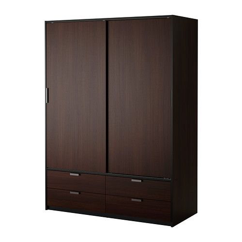 IKEA - TRYSIL, Wardrobe w sliding doors/4 drawers, , Sliding doors allow more room for furniture because they don't take any space to open.Smooth running drawers with pull-out stop.If you want to organize inside you can complement with SKUBB box, set of 6.