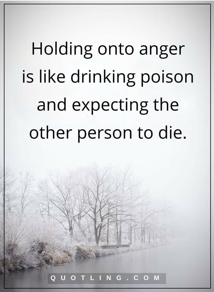 anger quotes Holding onto anger is like drinking poison and expecting the other person to die.