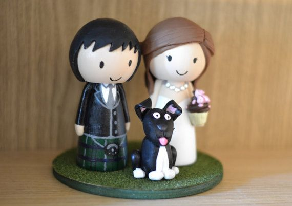 Scottish Wedding Cake Topper with Kilt-wearing Groom, Bride and Pet Dog