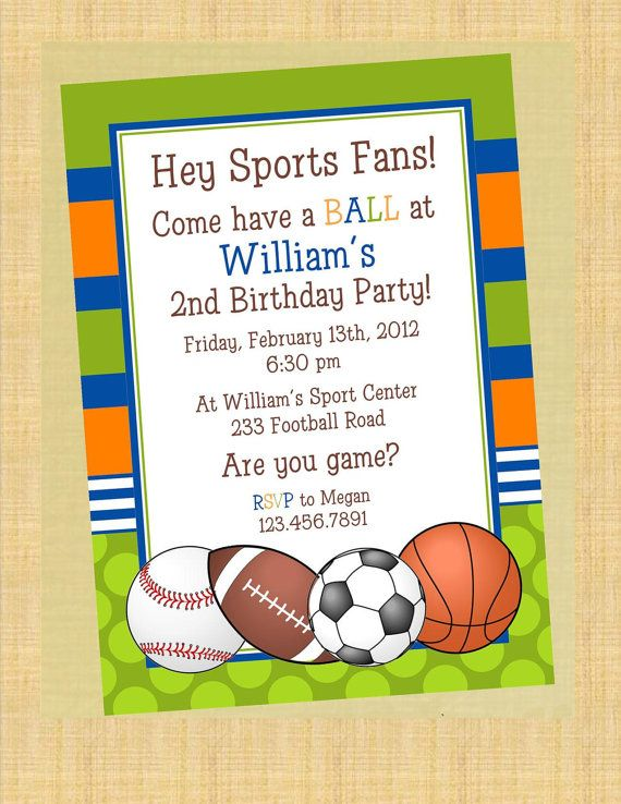 Boys Sports Birthday Invitations By Papermoondiva On Etsy 12 50