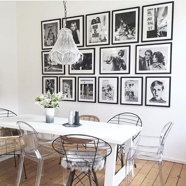 Dining Area Black And White Framed Photos Decor