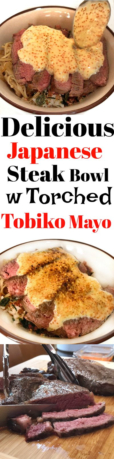 Flavourful Japanese Rice Bowl with Medium Rare Sous Vide Steak, Enoki Mushrooms, Seaweed Furikake and Torched Tobiko Mayo!! SO DELICIOUS