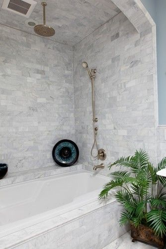 combo soaker tub and shower - LOVE this tile, Love the arch.... need to figure out glass door or shower curtain