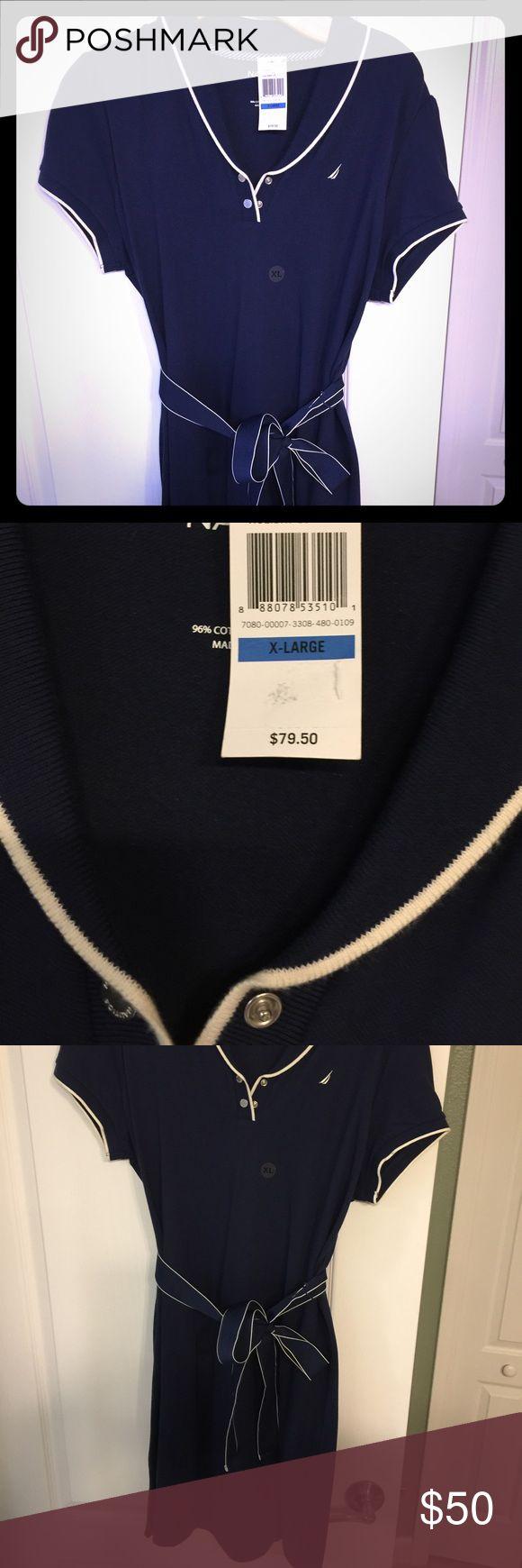 Nautica NWT navy tee shirt dress with tie Brand new tee shirt dress with tie. Nautica Dresses