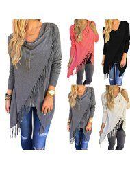 Sunward Fashion Womens Tassel Slash Tops Long Sleeve T-shirt Blouse Sweatshirt @ Sunshine JMC