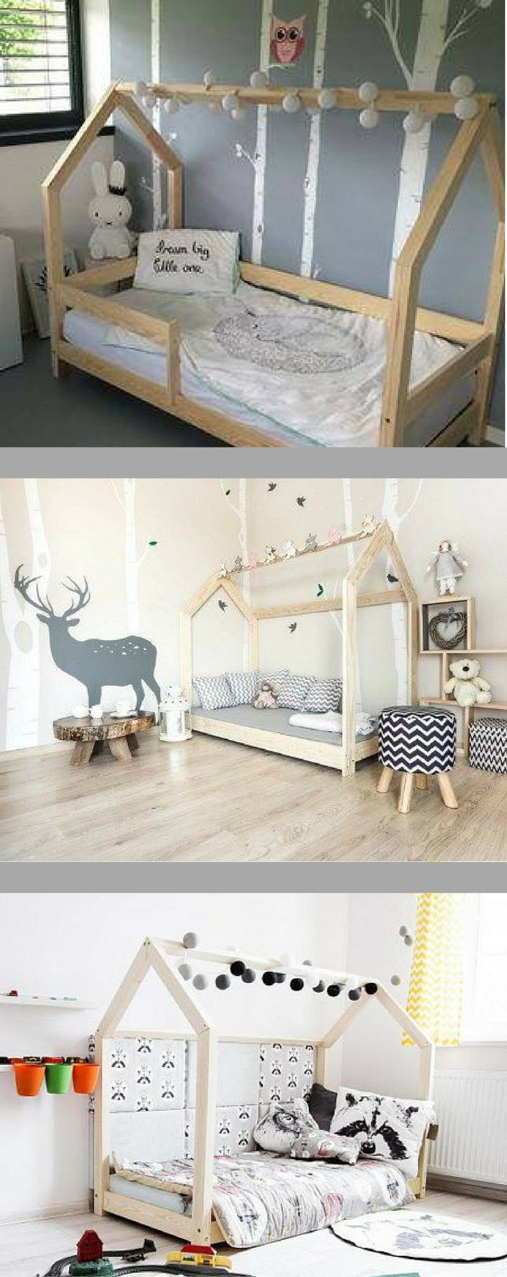 Cute toddler bed!!  I love the Montessori bedroom design.  Many sizes are sold, so this could be great in any kids bedroom or even teen bedroom.  I'm so happy I found this searching for Scandinavian kids rooms & cute bedroom ideas… #ad