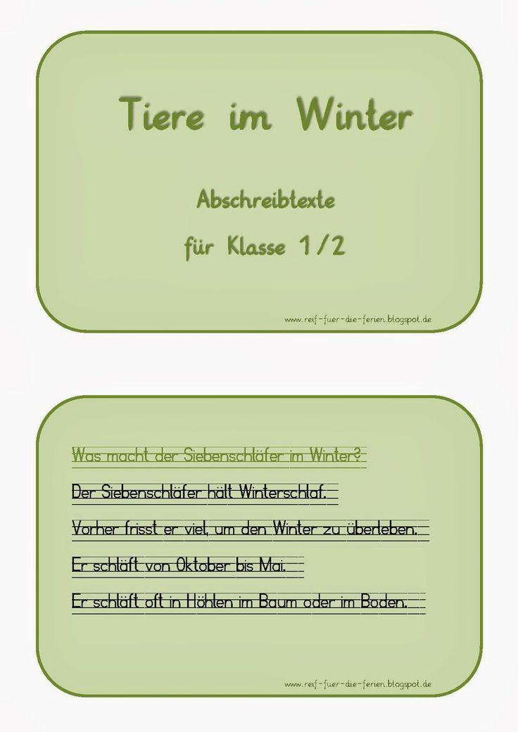 Tiere im Winter - Abschreibtexte