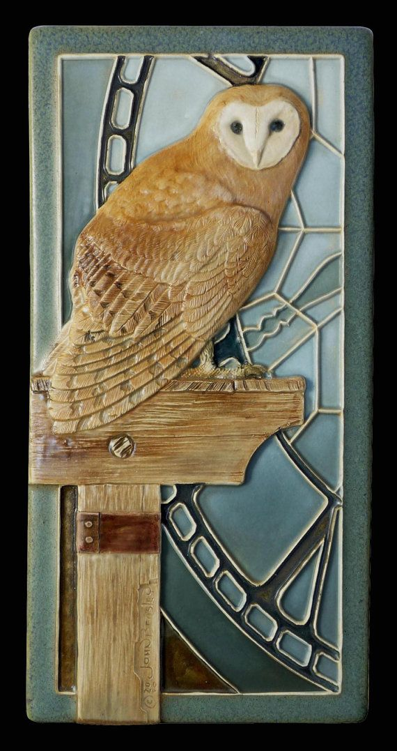 Ceramic tile sculpted tile animal art owl by MedicineBluffStudio, $68.00 Timekeeper, a barn owl living in an old abandoned clock tower. 4x8 inches.