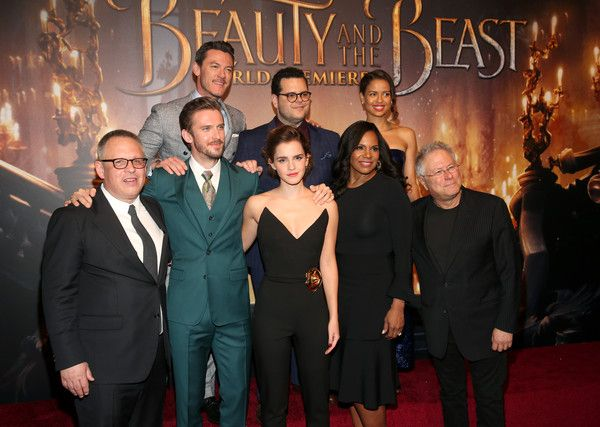 """(L-R top) Actors Luke Evans, Josh Gad and Gugu Mbatha-Raw (L-R bottom) Director Bill Condon, Actors Dan Stevens, Emma Watson, Audra McDonald and Composer Alan Menken arrive for the world premiere of Disney's live-action """"Beauty and the Beast"""" at the El Capitan Theatre in Hollywood as the cast and filmmakers continue their worldwide publicity tour on March 2, 2017 in Los Angeles, California. - The World Premiere Of Disney's Live-Action 'Beauty And The Beast'"""