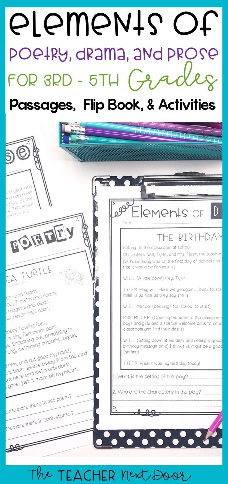 Elements Of Poetry Drama And Prose Is Filled With Engaging Activities For 3rd 5th Graders It Includes Fun Original Poems Mini Teaching Drama Prose Drama [ 1558 x 736 Pixel ]