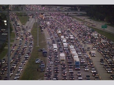 Picture of major evacuation from Hurricane Rita 2005 right after Katrina. I-45N from Houston to Dallas! What a mess that was!