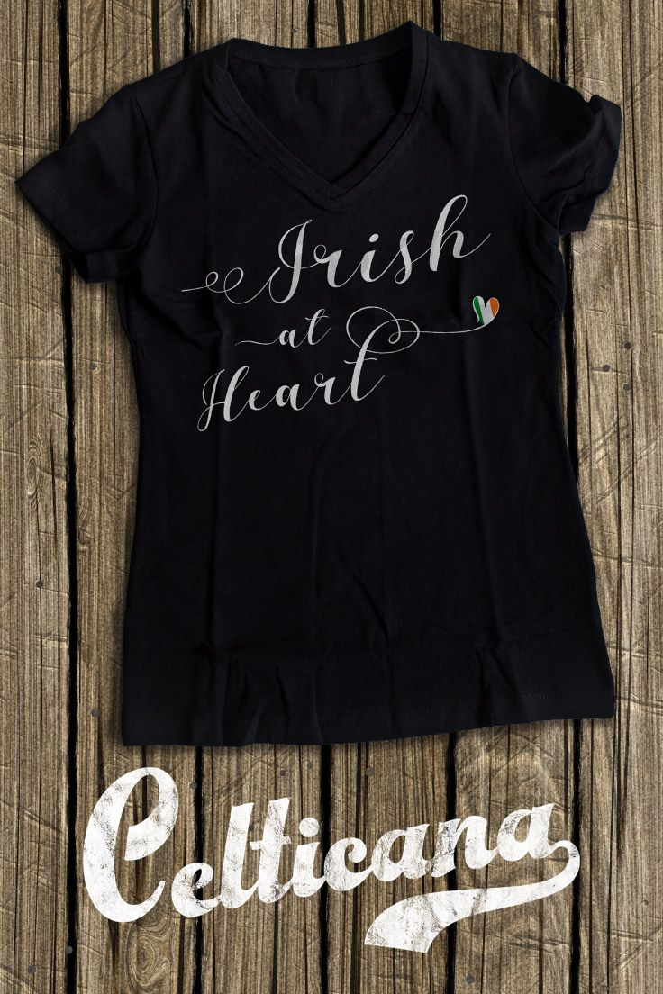Irish At Heart t-shirts. If you love Ireland, you'll love this design! This scripted typographic design features the flag of the Republic of Ireland in a heart. This design is available on a wide range of apparel, in unisex styles, and styles for men, women and kids. Here at Celticana we design ancestry, genealogy, country, state and city inspired t-shirts, hoodies and more. Wear the places you love!
